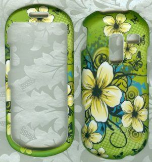 White Yellow Green Polka Dot Flowers Rubberized Samsung R455c Sch r455c Protector Phone Cover Cell Phones & Accessories