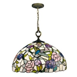 Dale Tiffany Hummingbird 1 Light Hanging Antique Brass Pendant with Art Glass Shade 7655/1LTA
