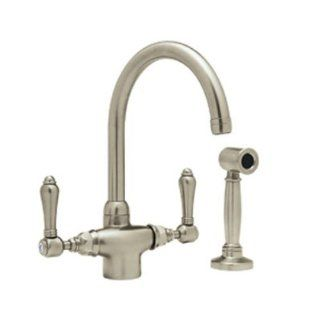 Rohl A1676LMWSSTN 2 Country Kitchen Single Hole Faucet with Metal Levers Sidespray and C Spout, Satin Nickel   Touch On Kitchen Sink Faucets