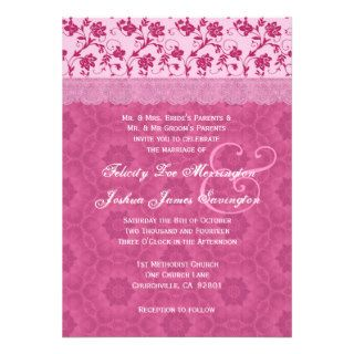 Pink Floral Lace Flowers Background Wedding 07 Personalized Invitation