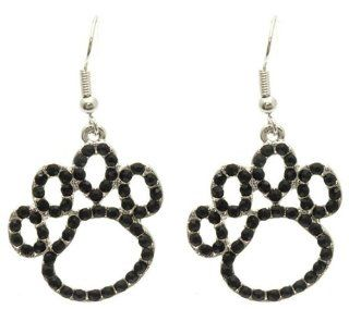 "Gorgeous Puppy Dog Animal Paw Print Outline 1"" Charmswith Jet Black Crystals Earrings Silver Tone Jewelry"