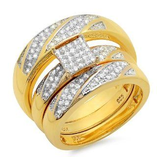 0.36 Carat (ctw) 18K Yellow Gold Plated Sterling Silver Round White Diamond Men & Womens Micro Pave Engagement Ring Trio Bridal Set 1/3 Set Jewelry