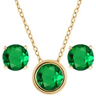 "3.00 Ct Round Green Nano Emerald 14K Yellow Gold Pendant Earrings Set 18"" Jewelry"