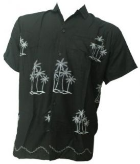 La Leela Palm Design Chain Stitched Embroidered Beach Hawaiian Shirt For Men at  Men�s Clothing store