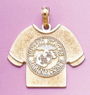 Gold Charm Marine Corps T shirt With Emblem 2d Metal Mold Million Charms Jewelry