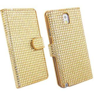 (TRAIT ) Yellow Luxury 3D Bling Diamond Crystal Cases PU Leather Cover Rhinestone Card Wallet Cases For Samsung Galaxy Note 3 N9000 Covers Protective Skin Cell Phones & Accessories
