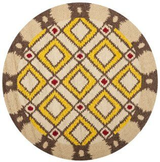 Safavieh FRS455E 4R Four Seasons Collection Indoor/Outdoor Round Area Rug, 4 Feet in Diameter, Beige and Yellow   Savavieh Four Seasons Rug