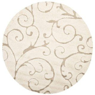 Safavieh Florida Shag Collection SG455 1113 Cream and Beige Shag Round Area Rug, 6 Feet 7 Inch Round