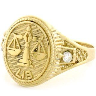 14k Solid Yellow Gold Zodiac CZ Ring   Libra Jewelry