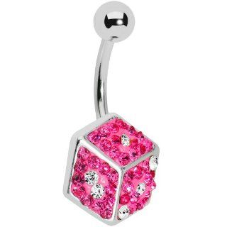 Pink Gem Paved Dice Belly Ring Body Candy Jewelry