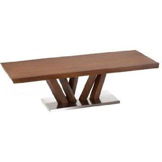 Obliq Rectangular Wood and Metal Coffee Table by Armen Living