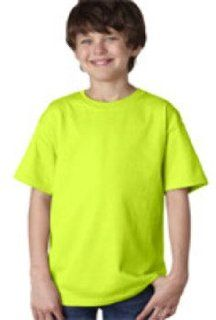 Gildan Youth T Shirt Safety Green (50/50) Xs