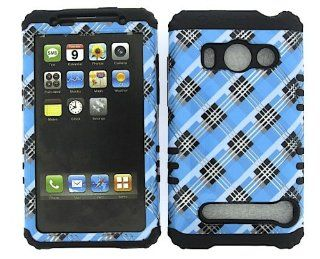 For Htc Evo 4g A9292 Blue Black Plaid Heavy Duty Case + Black Rubber Skin Accessories Cell Phones & Accessories
