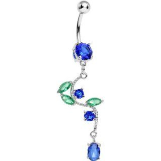 Blue Gem Budding Flower Vine Dangle Belly Ring Body Piercing Barbells Jewelry