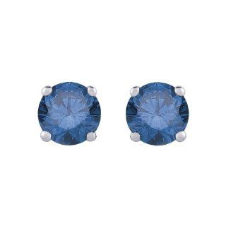 1/2 ct. Blue   I1 Round Brilliant Cut Diamond Earring Studs in 14K White Gold Diamond Earrings For Women Jewelry
