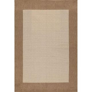 Hampton Bay Brown and Beige Border 5 ft. 3 in. x 7 ft. 4 in. Indoor Outdoor Area Rug 3168.53.51