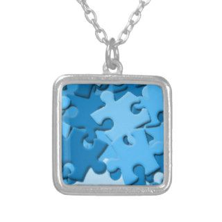 103005 puzzle Dark Light Blues Jigsaw Puzzle Piece Pendant