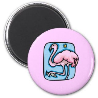 PINK FLAMINGO BIRD CARTOON LIGHT BLUE SKY FUN FRIDGE MAGNETS