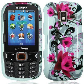 Pink White Flower Hard Cover Case for Samsung Intensity III 3 SCH U485 Cell Phones & Accessories