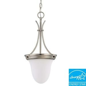 Glomar Green Matters 1 Light Hanging Brushed Nickel Pendant Light HD 3309