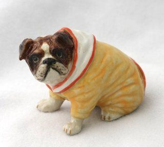 English BULLDOG in Yellow HOODIE New MINIATURE Porcelain Figurine Dog KLIMA L509F   Collectible Figurines