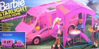 "Barbie STARLIGHT MOTOR HOME Pink Vehicle MOTORHOME Van with TENT & TRAIL RIDER ""Jeep"" (1993) Toys & Games"