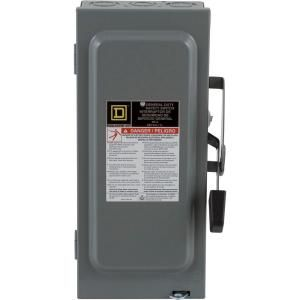 Square D by Schneider Electric 60 Amp 240 Volt Two Pole Indoor General Duty Fusible Safety Switch with Neutral D222NCP