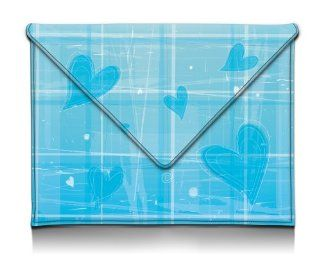 MyGift 8 10 Inch Brilliant Blue Plaid with Hearts Design Envelope Style Synthetic Leather Netbook Tablet Envelope Sleeve Slip Case Slim Fit Carry Bag for Apple iPad 1, 2 & 3 Kindle Fire HD 8.9 Samsung Galaxy Tab 2 10.1 Kindle Store