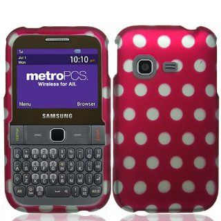 Plastic Hot Pink W/ White Polka Dots Hard Cover Snap On Case For Samsung Freeform M T189N (StopAndAccessorize) Cell Phones & Accessories
