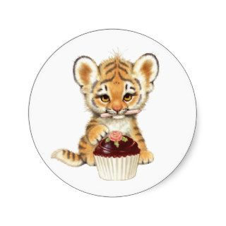 Happy Birthday   Cute Tiger with Cupcake Round Sticker