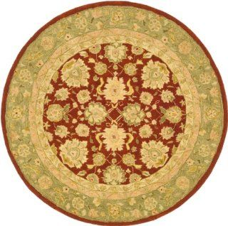 Safavieh AN522C Anatolia Collection 6 Feet Handmade Hand Spun Wool Round Area Rug, Ivory and Red