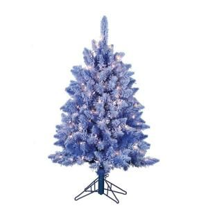 STERLING 4 ft. Pre Lit Lightly Flocked Baby Blue Artificial Keystone Pine 5826 40BL