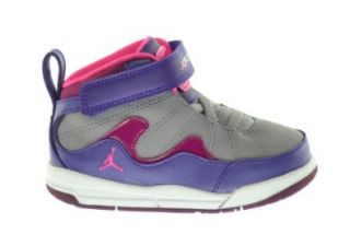 Jordan Girls Flight TR'97 (TD) Baby Toddlers Basketball Shoes Electric Purple/Pink Cement Grey Raspberry 428829 509 7.5 Shoes