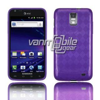 VMG AT&T Samsung Skyrocket i727 TPU Design Gel Skin Case Cover   PURPLE Diamond Pattern Design Premium 1 Pc Semi Transparent See Thru Gel Skin Case Cover for AT&T SKYROCKET i727 Cell Phone Cell Phones & Accessories