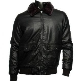 OBEY Black Faux Leather Fleece Collar Zip Up Mens Jacket (Medium) at  Men�s Clothing store Leather Outerwear Jackets