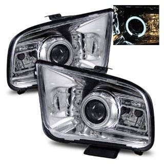 Ford Mustang 2006 2009 LED Halo Projector Headlights Chrome (Fits Base,GT Convertible 2 Door) Automotive