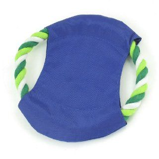 "Pet Doggie Puppy Training Squeaking Blue White Contton Rope Frisbee 7.1"" Dia  Pet Chew Toys"
