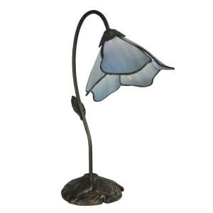 Dale Tiffany 19 in. Blue Lily Dark Antique Bronze Poelking 1 Light Table Lamp TT12145