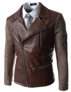 (NDJ09) TheLees Slim Fit Leather Patched Rider Style Jacket BROWN Large(US Small) at  Men�s Clothing store