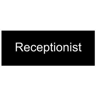 Receptionist White on Black Engraved Sign EGRE 535 WHTonBLK Wayfinding  Business And Store Signs