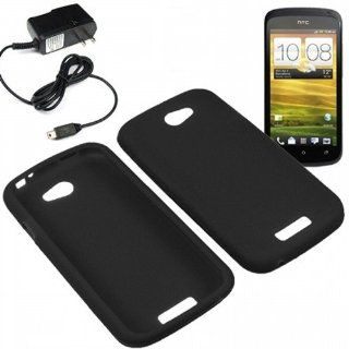 Eagle Soft Silicone Sleeve Gel Cover Skin Case for T Mobile HTC One S + Travel Charger Black Cell Phones & Accessories