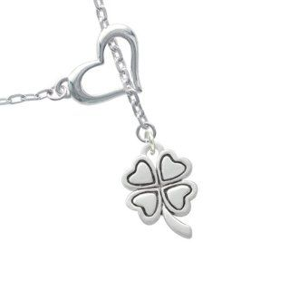 Antiqued Silver Four Leaf Clover Heart Lariat Charm Necklace Delight Jewelry