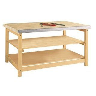"Diversified Woodcraft SMB 540 Solid Maple Wood Sheet Metal Bench, 2 1/4"" Maple Top, 60"" Width x 31 1/4"" Height x 40"" Depth Science Lab Benches"