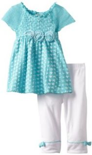 Little Lass Girls 2 6X 2 Piece Eyelet Capri Set with Puff Print, Blue, 4T Pants Clothing Sets Clothing
