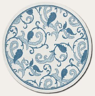"8'6"" Round Paisley Scroll White Blue Indoor/Outdoor Area Rug"