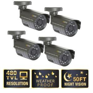 Q SEE Lite Series Wired Weatherproof 480TVL Indoor/Outdoor Cameras with 50 ft. Night Vision (4 Pack) QM4803B 4