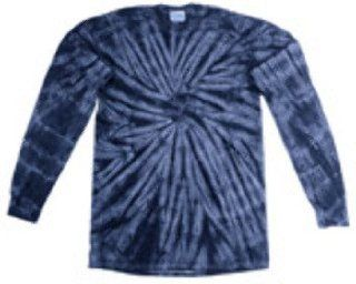 Tie Dye Youth Cotton Long Sleeve Tee, Navy Spider, Xs