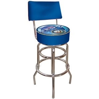 Trademark Global United States Navy Padded Bar Stool with Back (MIL1100 USN)