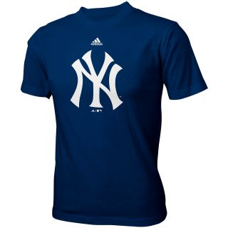 adidas Youth New York Yankees Team Logo Short Sleeve T Shirt   Size Large, Navy