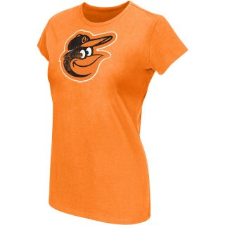 G III Womens Baltimore Orioles Logo Crew Neck Cap Sleeve T Shirt   Size Small,